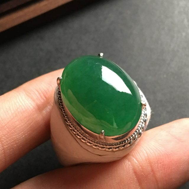 21-16-7寸冰种满色 缅甸天然翡翠戒指