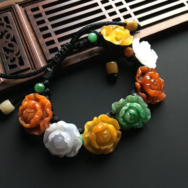 三彩花开富贵天然翡翠手链 单个尺寸21-19-9毫米