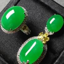 冰种满绿套组 缅甸天然翡翠戒指