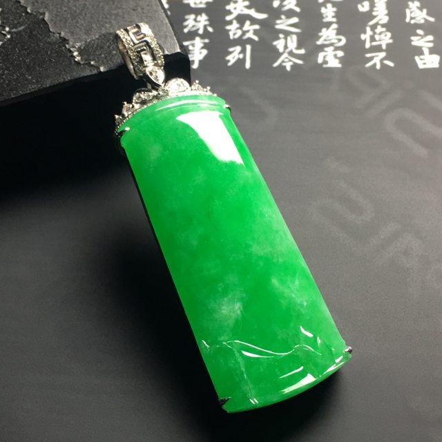 满色竹节吊坠 裸石尺寸44.8-18.3-4.5毫米