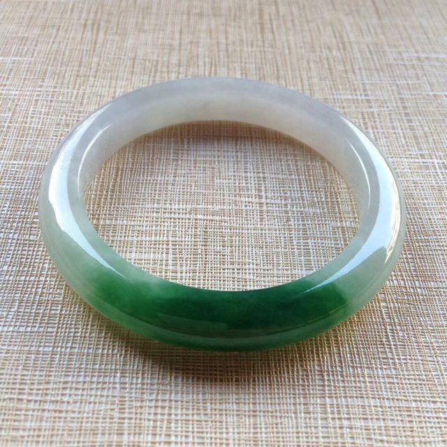 冰种芙蓉绿翡翠手镯  缅甸天然翡翠平安镯 54.5寸