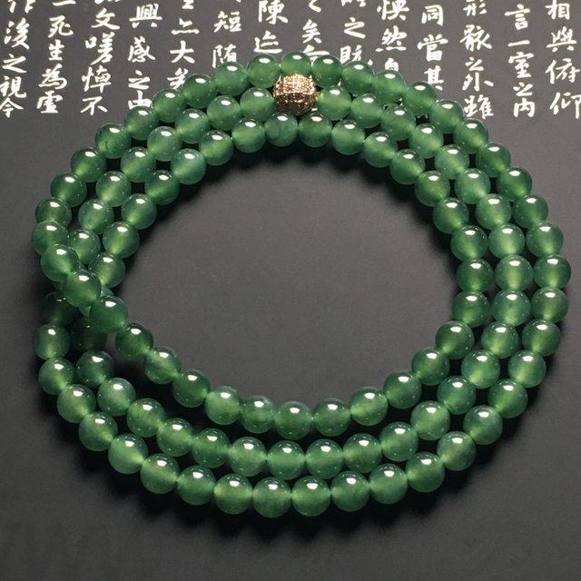晴绿翡翠项链 108颗 直径6.4毫米