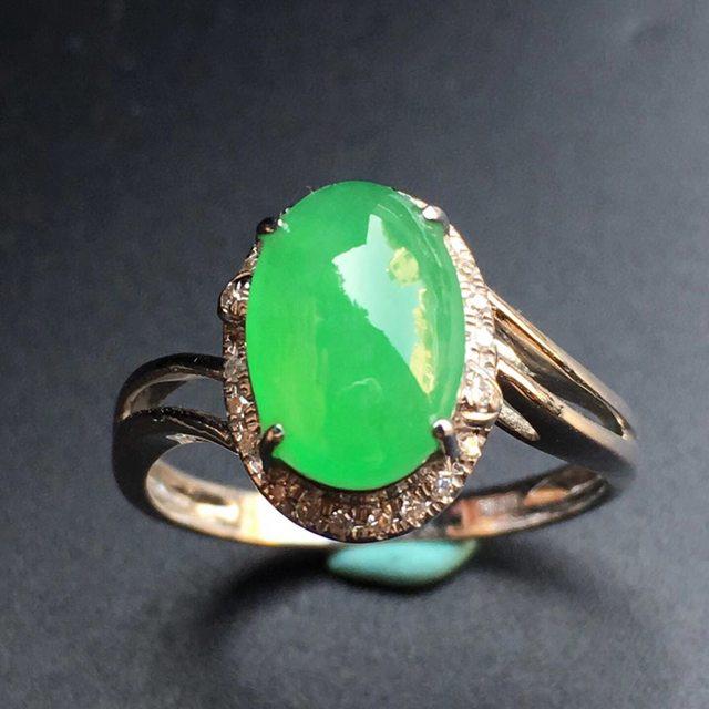 冰种阳绿蛋面天然缅甸翡翠戒指