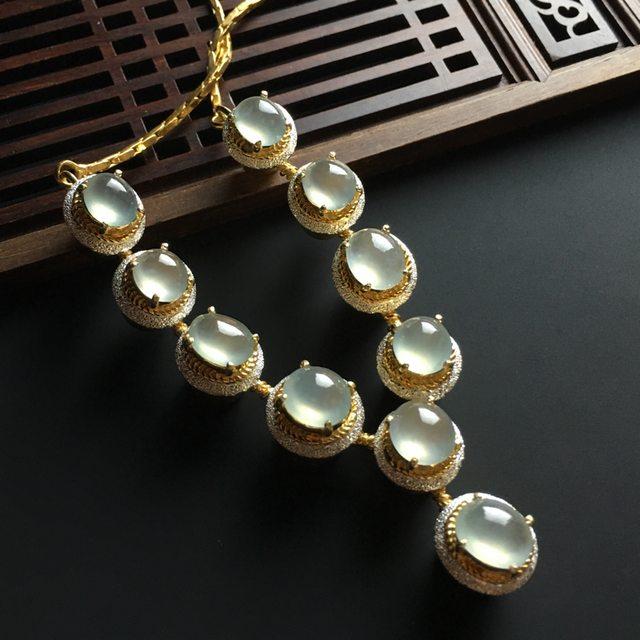 白冰蛋面翡翠项链 10-8-4.5mm