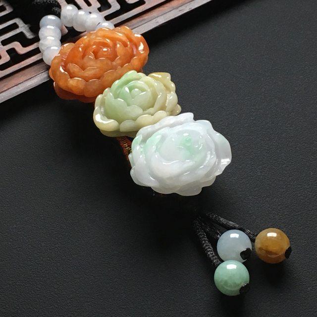 巧雕三彩花开富贵翡翠吊坠  取大尺寸:24-29-14