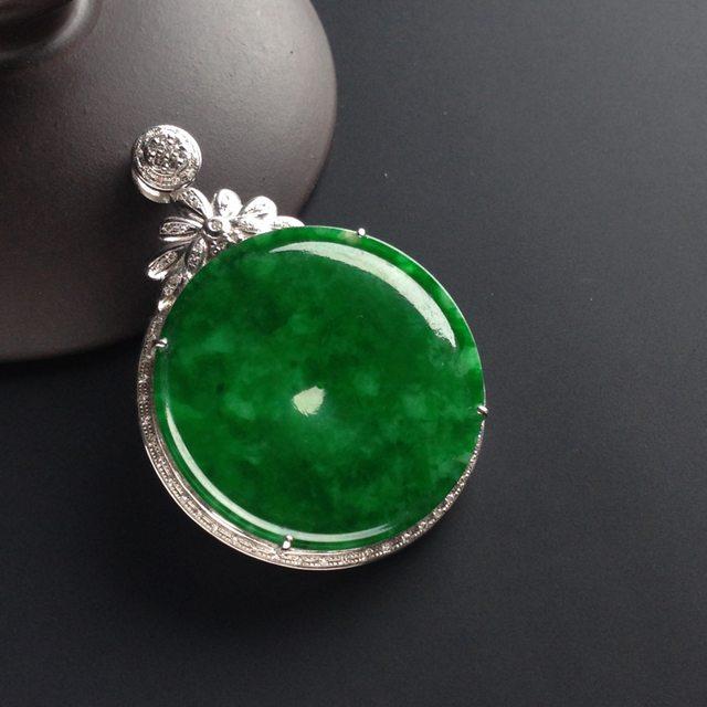 冰玻种满色阳绿 翡翠平安扣