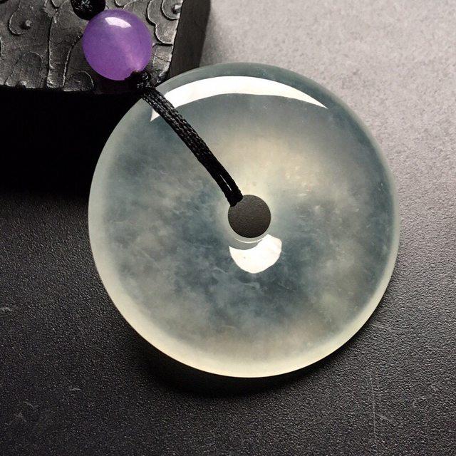 冰种平安扣 翡翠挂件 尺寸: 39-7.5mm