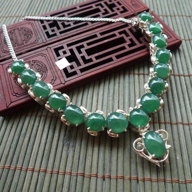 满绿铜托翡翠项链 取大11.5*8.5mm