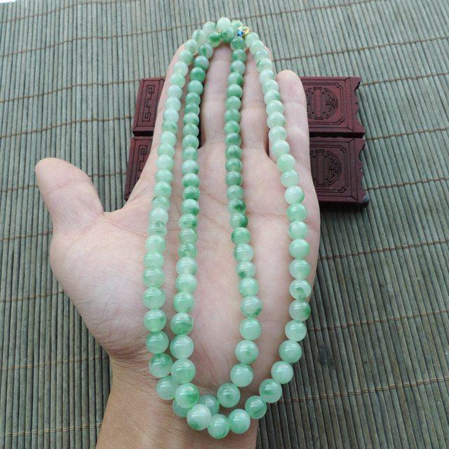 飘绿花圆珠翡翠项链 珠大取一7.2mm