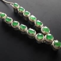 糯冰种绿底翡翠套链 单颗8-7.5-3.5mm