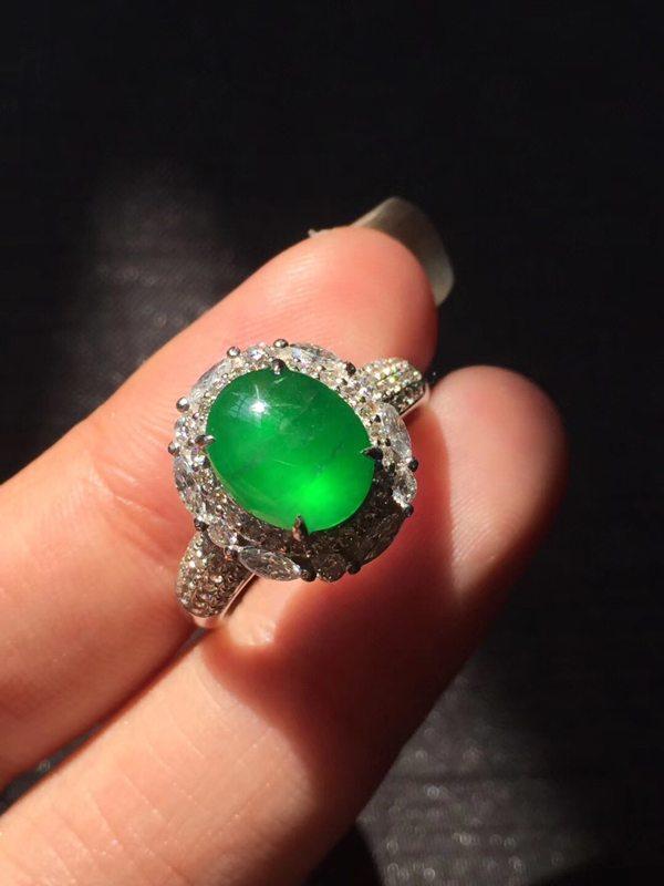 顶级玻璃种 帝王绿 缅甸天然翡翠戒指