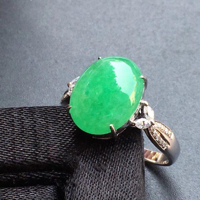 12.2*9.6*3mm冰种阳绿 缅甸天然翡翠戒指