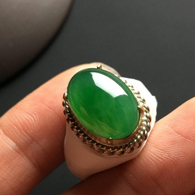 糯种满绿 缅甸天然翡翠戒指 15-11-4.2毫米图6