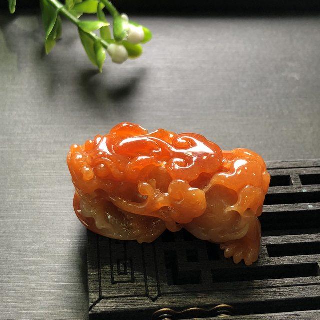 红翡貔貅 翡翠吊坠 尺寸40.2*21.5*17.2mm