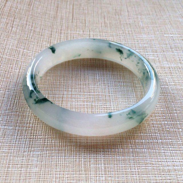 冰润飘蓝花翡翠贵妃镯:56-49-12-7mm