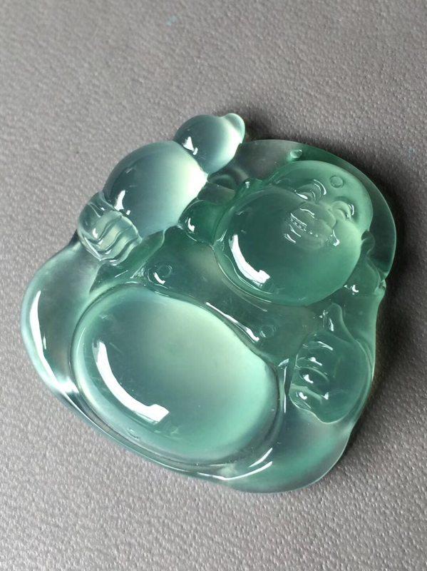 玻璃种晴底逍遥佛水头足 翡翠挂件 尺寸31.3*31.8*6.2