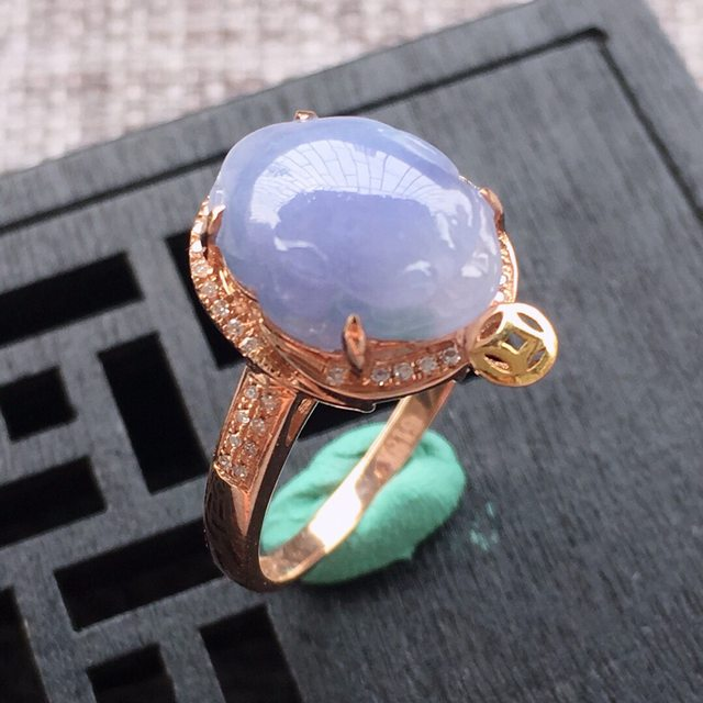 12.5*9.5*4.5寸冰糯种紫罗兰翡翠戒指