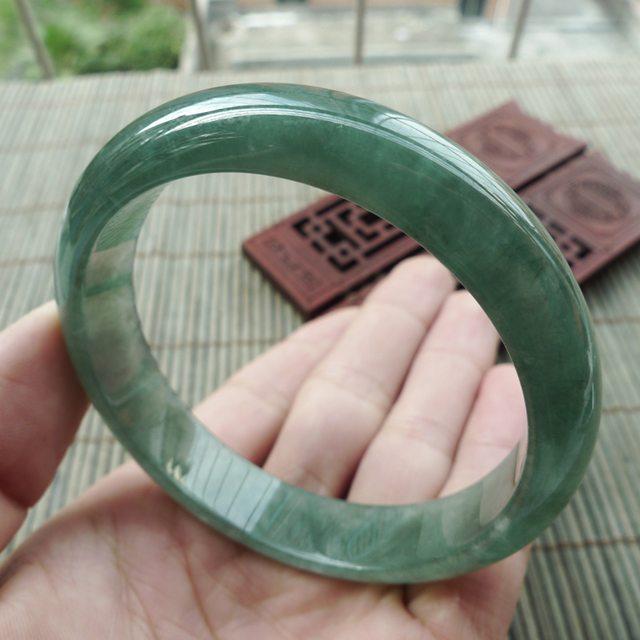 翡翠手镯A货 精美满色正装手镯:57mm