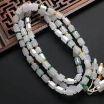糯种纯净白色翡翠项链