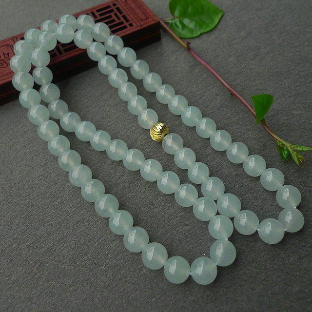 冰透晶莹浅绿10.5mm翡翠项链