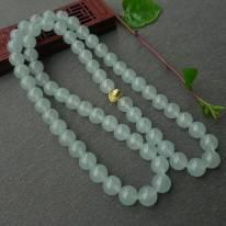 冰透晶瑩淺綠10.5mm翡翠項鏈