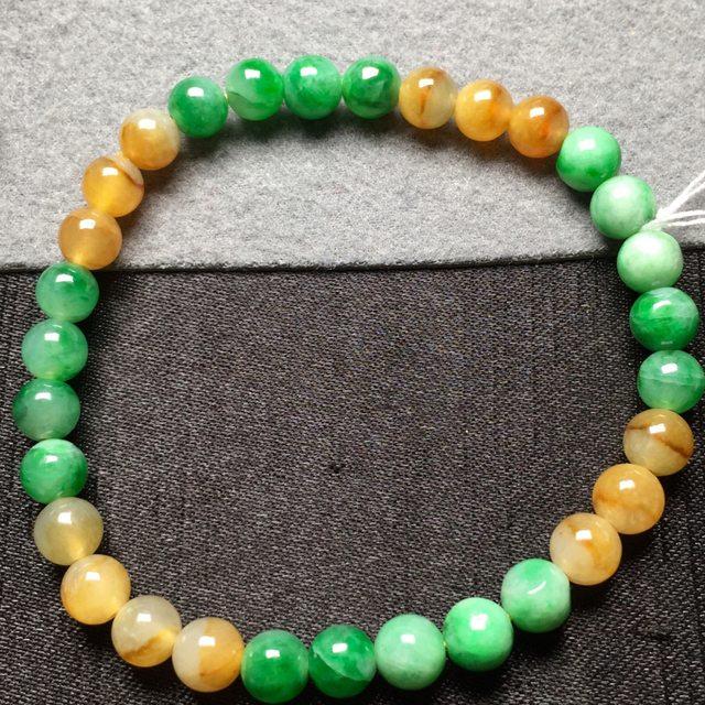 黄加绿天然翡翠手串6图6