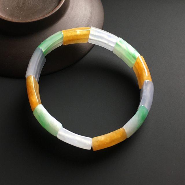 三彩翡翠手链 单片17-13-6毫米