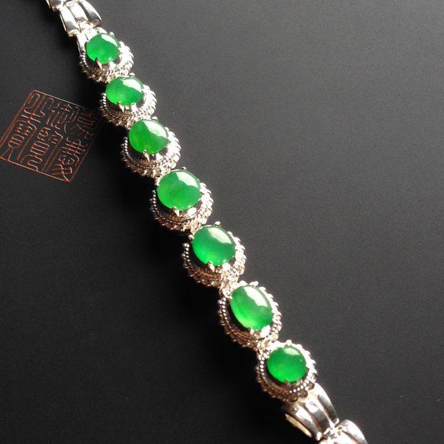冰种阳绿 天然翡翠手链6-38毫米