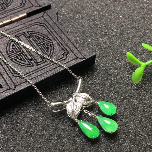 冰种阳绿水滴翡翠锁骨项链