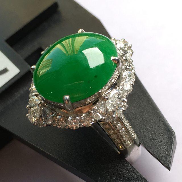 冰种满色 缅甸天然翡翠戒指
