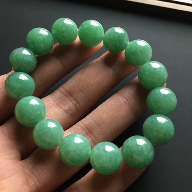 满色天然翡翠佛珠手链 单颗佛珠直径13毫米