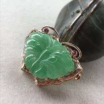 冰糯种满绿色 蝴蝶翡翠胸针(吊坠两用款)