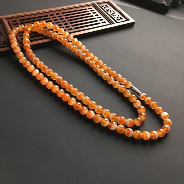 冰种红翡天然佛珠项链 直径7mm