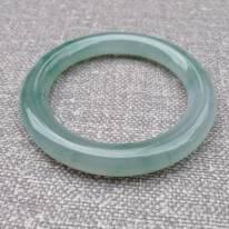 冰种飘花翡翠手镯  缅甸天然翡翠圆条手镯 54.3寸圈