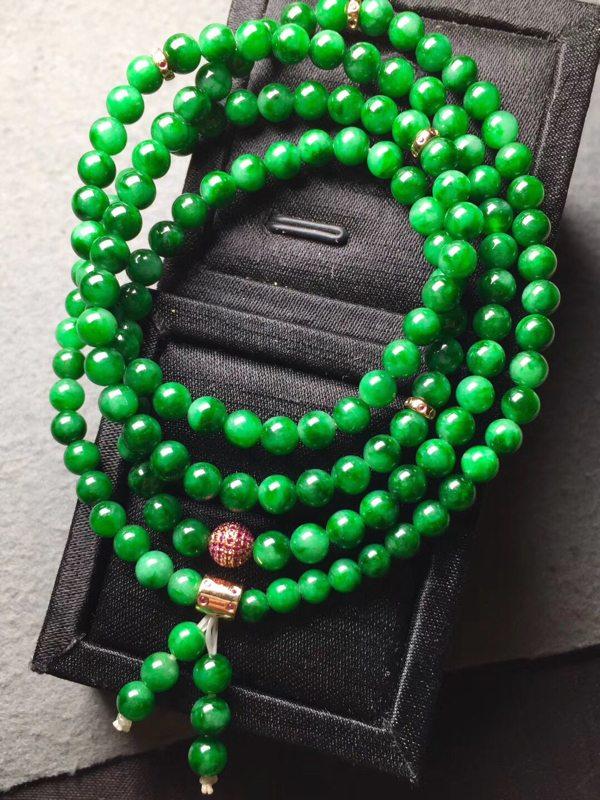 冰种阳绿天然翡翠珠链 直径5共108粒