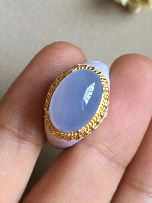 冰种紫罗兰 缅甸天然翡翠戒指14.1-9.6-4.5毫米
