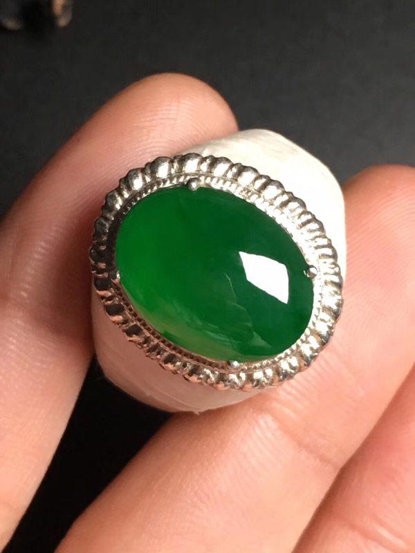 冰种满绿 翡翠戒指16-12-4.2毫米