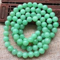 A货翡翠 冰糯种甜绿翡翠圆珠项链
