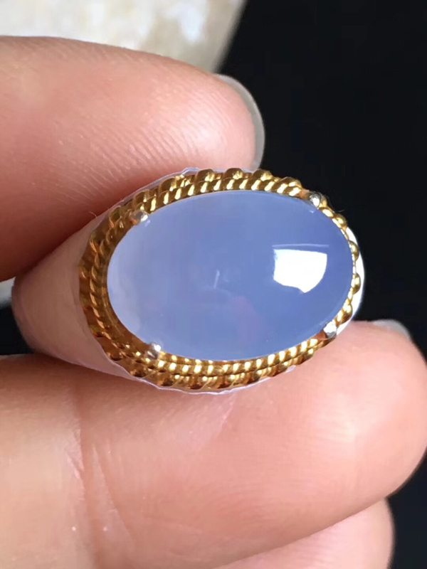 14.3-9.6-5mm老坑冰种 紫罗兰 缅甸天然翡翠戒指