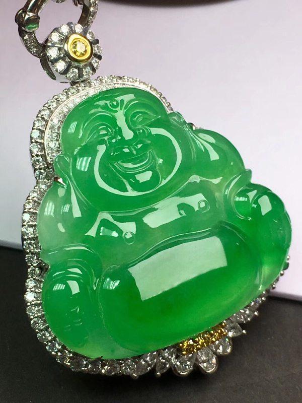 冰种阳绿 翡翠挂件 弥勒佛