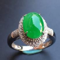冰种阳绿 缅甸天然翡翠戒指 10.5*7.6*4mm