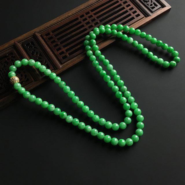 阳绿天然翡翠佛珠项链 直径7毫米