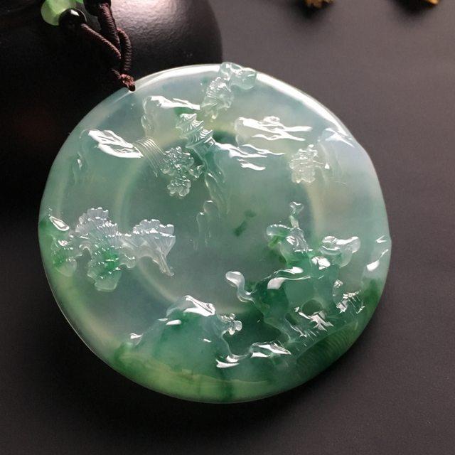 冰种飘绿花老子出关翡翠挂件  尺寸54-7毫米
