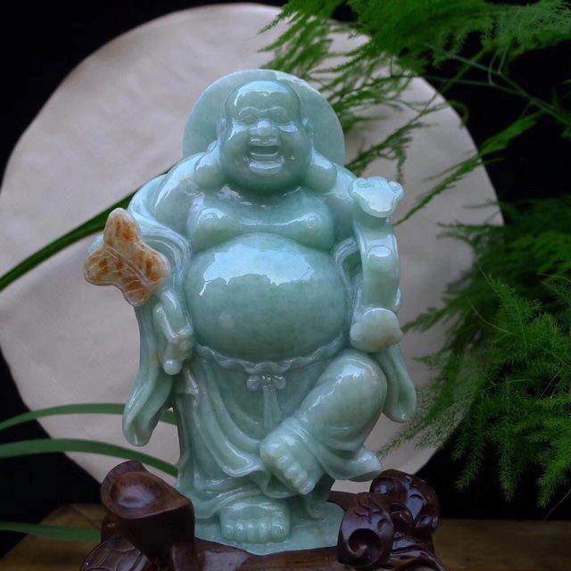 精雕浅绿飘红翡 笑口常开弥勒佛精品摆件