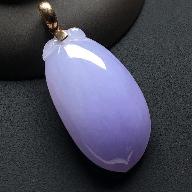 紫罗兰福瓜 翡翠吊坠 尺寸:41.8-22.5-11毫米