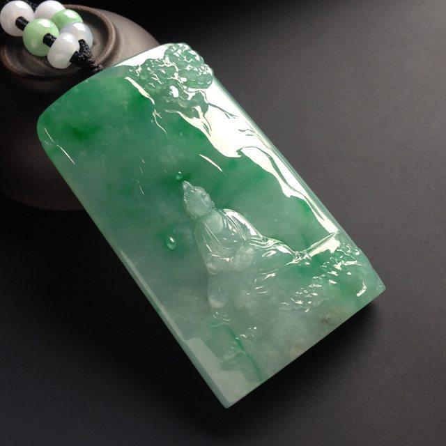 冰种带色释加牟尼 翡翠吊坠 尺寸66-39-12毫米