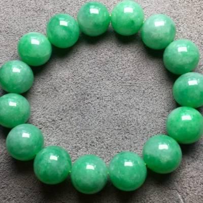 13.5寸冰滿綠天然翡翠手串