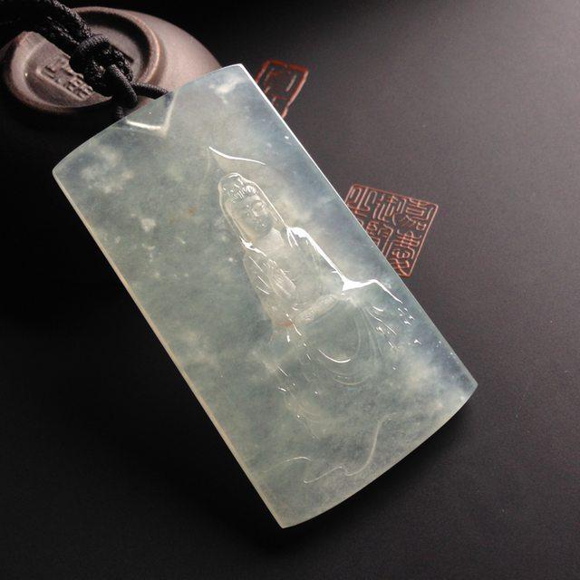冰种淡晴水慈容观音翡翠吊坠 64-34-5毫米