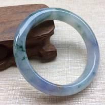 翡翠A货冰种紫罗兰飘花手镯  缅甸天然翡翠手镯53.7寸