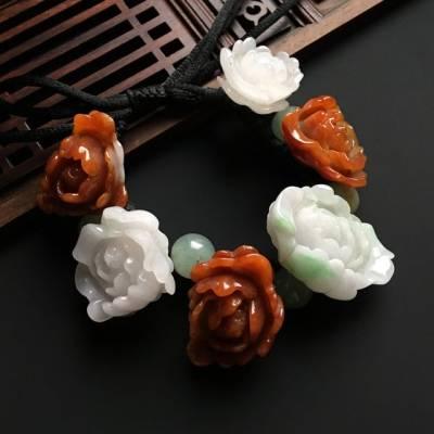 双彩花开富贵天然翡翠手链31-20-9毫米